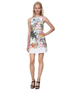 VESTIDO BLANCO SLIM TROPICAL ANNA