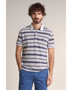 Polo fit regular allover Blanco