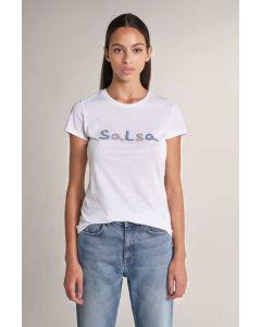 Camiseta Branding con Cuentas Blanco