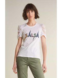 Camiseta Logo con Brillos Blanco