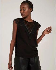 Camiseta puntilla y crochet Negro