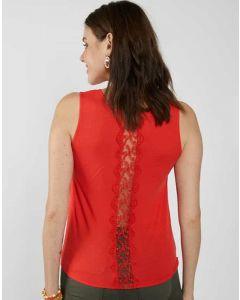 Camiseta Espalda con Puntillas Rojo